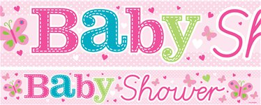 Butterfly Baby Shower Paper Banners 1 design 1m each