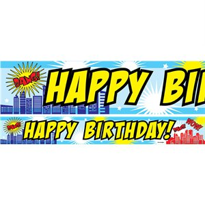 Super Hero Blue Birthday Paper Banners 1 design 1m each