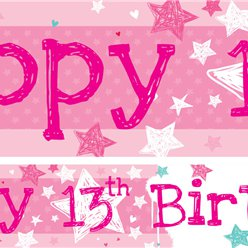 13th Birthday Paper Banners 1 design 1m each