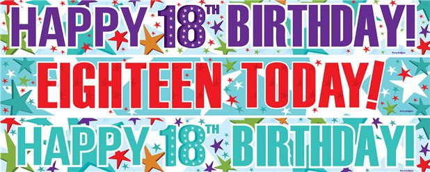 18th Birthday Paper Banners 3 designs 1m each