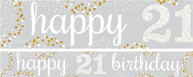 21st Birthday Paper Banners 1 design 1m each