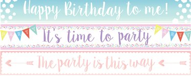 Birthday Paper Banners 3 designs 1m each