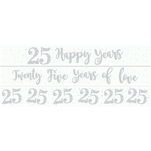 25th Wedding Anniversary Paper Banners 3 designs 1m each