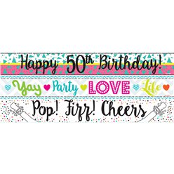 50th Birthday Paper Banners 3 designs 1m each
