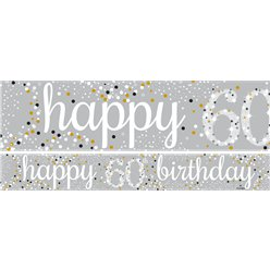 60th Birthday Paper Banners 1 design 1m each