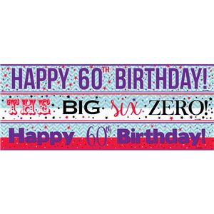 60th Birthday Paper Banners 3 designs 1m each