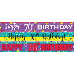70th Birthday Paper Banners 3 designs 1m each