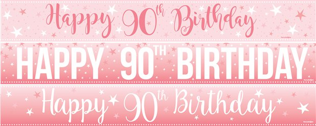 90th Birthday Paper Banners 3 designs 1m each