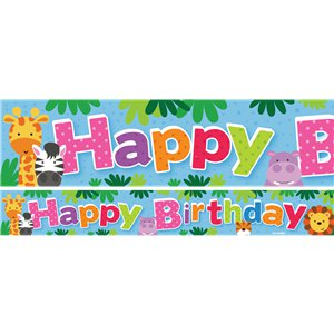 Animal Friends Birthday Paper Banners 1 design 1m each