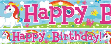 Unicorn Birthday Paper Banners - 1m