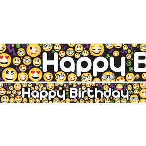 Emoji Birthday Paper Banners 1 design 1m each