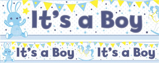 Its a Boys Paper Banners 1 design 1m each