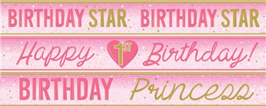 Happy 1st Birthday Banners 3 designs 1m each