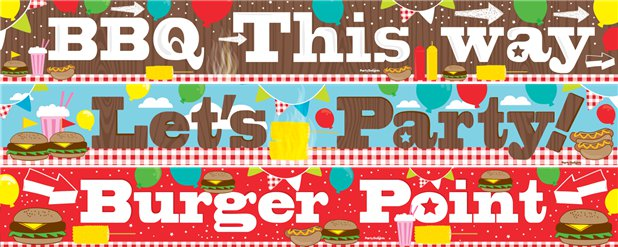 BBQ Party Banners 3 designs 1m each