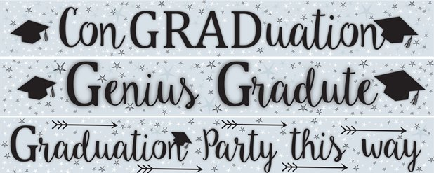 Graduation Paper Banners 3 designs 1m each