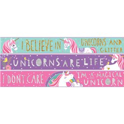 Unicorn Paper Banners - 3 designs 1m each