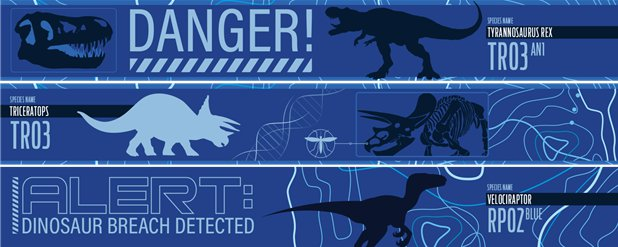 Jurassic World Paper Banners - 3 Designs 1m Each