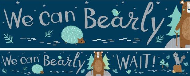 Bearly Wait Party Paper Banners - 3 designs 1m each