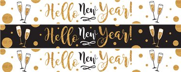 golden new year paper banners 1m