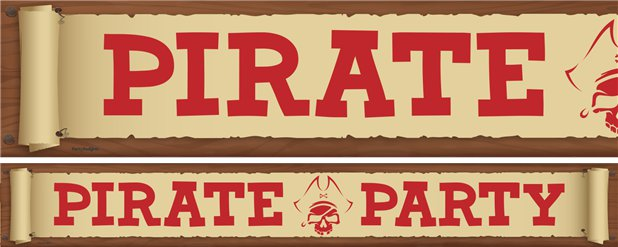 Pirate Treasure Party Yard Banners - 3 Designs 1m Each