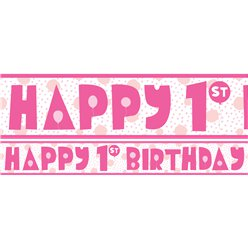 1st Birthday Girl Yard Banner - 3 Designs