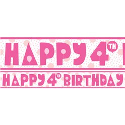 4th Birthday Girl Yard Banner - 3 Designs