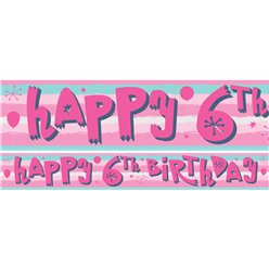 6th Birthday Girl Yard Banner - 3 Designs