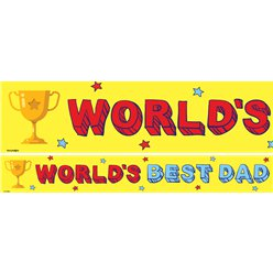 Worlds Best Dad Paper Banner - 3pk