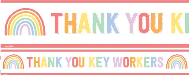 Thank You Key Workers Paper Banners - 1m