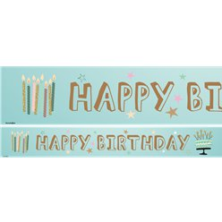 Mint Green Happy Birthday Paper Banners - 3pk