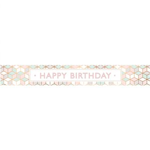 Pastel Pink Happy Birthday Paper Banners - 3pk