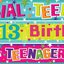 13th Birthday Paper Banners 3 designs 1m each