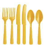 Yellow Plastic Cutlery - Assorted Party Pack