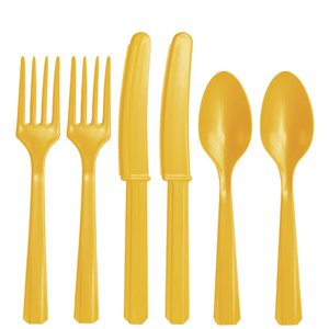 Yellow Reuseable Plastic Cutlery - Assorted Party Pack