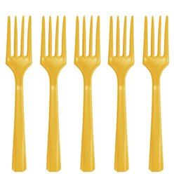 Yellow Reusable Forks - 20pk