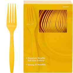 Yellow Reusable Forks - 100pk