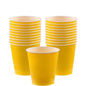Yellow Cups - 266ml Plastic Party Cups