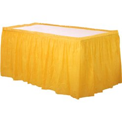 Yellow Plastic Tableskirt - 73cm x 4.2m
