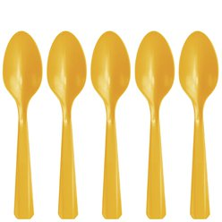 Yellow Reuseable Plastic Spoons