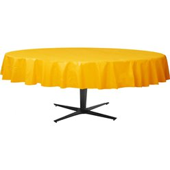 Yellow Round Tablecover - Plastic - 2.1m