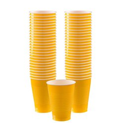 Yellow Cups - 355ml Plastic Party Cups