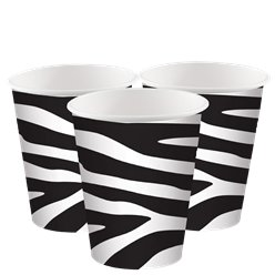 Zebra Print Paper Cups - 256ml