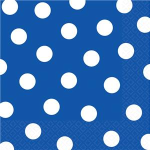 Royal Blue Polka Dot Napkins - 33cm