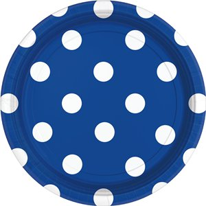 Royal Blue Polka Dot Plates - 23cm Paper Party Plates