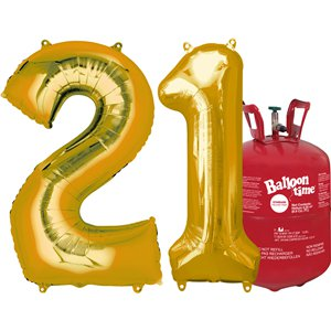 Age 21 Gold Foil Kit With Helium, Ribbon and Weights