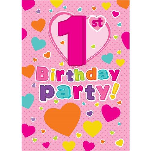 1st Birthday Invitation Cards Hearts Medium