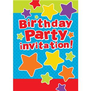 General Birthday Invitation Cards Stars - Small