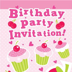 Cherry Cupcakes Invitation Cards - Small