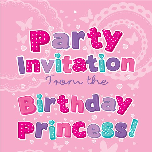 Birthday Princess Invitation Cards Small Party Delights
