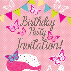 Cupcakes Birthday Invitation Cards - Medium